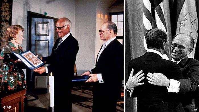 Flash-Galerie Friedensnobelpreisträger 1978 Menachem Begin und Anwar Sadat (AP)