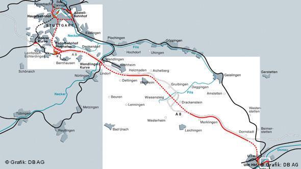Grafik: die geplante Streckenführung beim Projekt Stuttgart 21 und der Neubaustrecke nach Ulm.