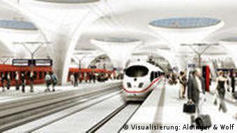 Der neue Durchgangsbahnhof mit Gucklöchern ans Tageslicht (Visualisierung: Alminger und Hoff)