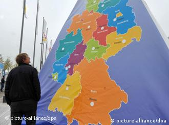 A visitor in Bremen checks out an exhibit on reunified Germany