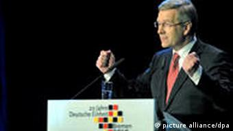 German President Christian Wulff speaking in Bremen on the 20th anniversary of German reunification.