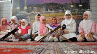 Women gathered at a mosque in Cologne