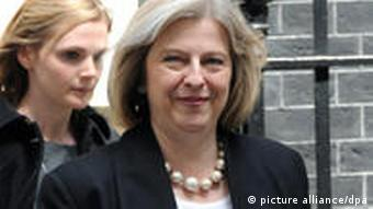 Conservative Party chairman Theresa May leaves 10 Downing Street in Central London, 12 May 2010 after attending the first Cabinet of the new Conservative/Liberal Democrats coalition government. May has been appointed Home Secretary and Minister for Women and Equality -- only the second woman to hold the post of Home Secretary. EPA/DANIEL DEME +++(c) dpa - Bildfunk+++