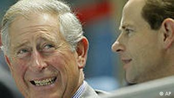 Britain's Prince Charles, left, and his brother Prince Edward, right, at the Games