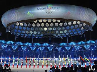 The Jawaharlal Nehru Stadium in New Delhi was packed for the opening ceremony