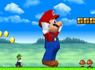 Ein Bild von dem Computerspiel Super Mario Brothers, in dem die Hauptfigur auf einer grünen Wiese steht