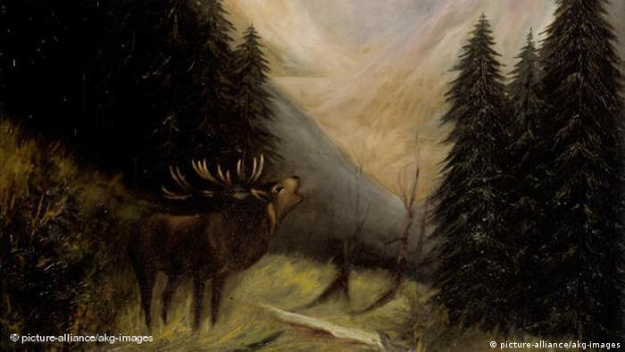 Gemälde Roehrender Hirsch im Hochgebirge (picture-alliance/akg-images)