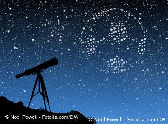 Telescope pointed at the night sky, where stars form a soccer ball