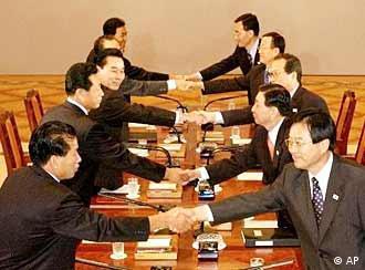Shakehands zwischen Nord- und Südkorea
