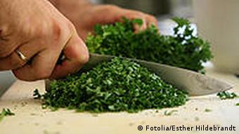 Chef cutting parsley