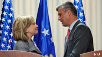 US Secretary of State Hillary Rodham Clinton and Kosovo's Prime Minister Hashim Thaci
