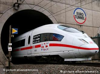 Deutsche Bahn ICE3 High Speed Train at the entrance to the Channel Tunnel at Coquelles, France