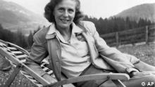German filmmaker Leni Riefenstahl is seen in the garden of her home in Kitzbuhel, Austria, in this May 1945 file picture. Leni Riefenstahl celebrates her 100th birthday on Aug. 22, 2002. Riefenstahl, who produced masterful, controversial propaganda films for the Nazis, plans her first movie release in nearly 50 years. (AP Photo/Jim Pringle)