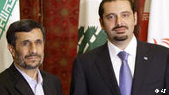 محمود احمدی نژاد در دیدار با سعد حریری، رییس دولت لبنان در ماه اکتبر سال جاری میلادی