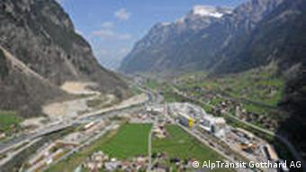 The entry to the Gotthard tunnel
