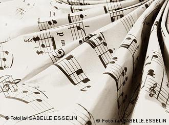 A folded musical score