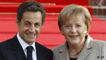 French President Nicolas Sarkozy and Chancellor Angela Merkel at the Hotel Royal in Deauville