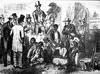 A slave market such as Lincoln saw from the windows of the Capitol in Washington while a member of congress. This is another original drawing for Uncle Tom's Cabin.