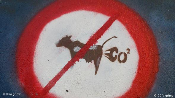 A sign showing a cow with a red line through it