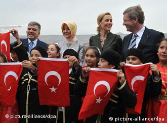 Wulff and his wife pose with president of the Turkish Republic Abdullah Gul and his wife