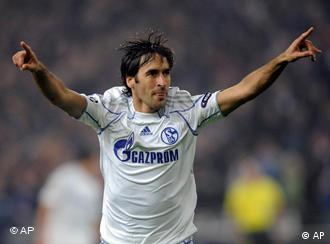 Raul celebrates his opening goal