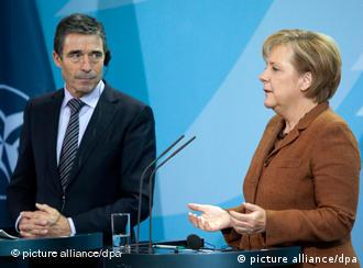 NATO Secretary General Rasmussen and German Chancellor Angela Merkel