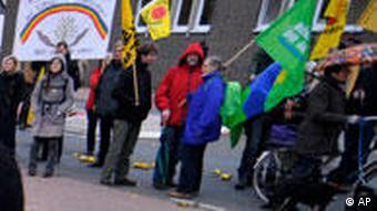 Protesters block railway line