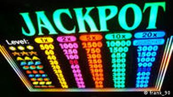 Slot machine reads JACKPOT