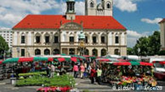 Market place with stalls under blue skies