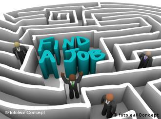 Illustration of a maze with Find a Job written in middle and drawn figures walking around