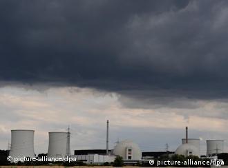nuclear power plant Biblis AS, from afar, dark clouds overhead