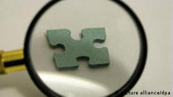 Puzzleteil unter Lupe (Foto: dpa)