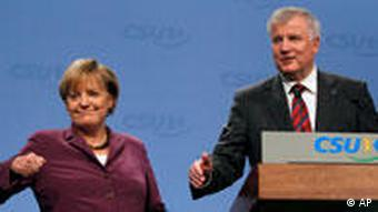 Chancellor Angela Merkel and CSU leader Horst Seehofer