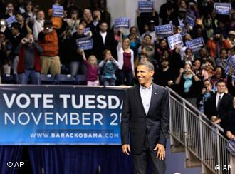 Obama at a rally in Connecticut