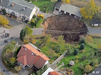 An aerial view of the landslide