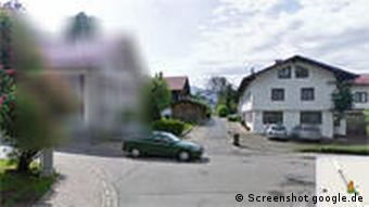 A blurred house in the Google Street View service