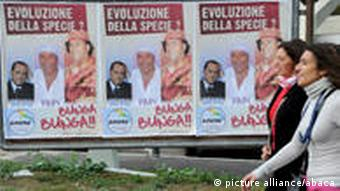 Posters making fun of Berlusconi