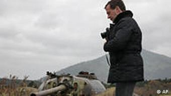 Russian President Dmitry Medvedev visits one of the Russian-held islands claimed by Japan