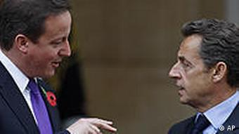 France's president Nicolas Sarkozy and British Prime minister David Cameron