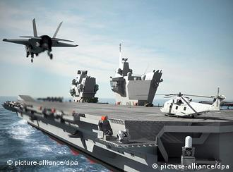 A computer generated image of a future British aircraft carrier