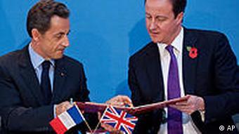 British Prime Minister David Cameron and French President Nicolas Sarkozy