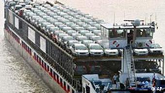A cargo ship carrying cars