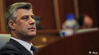 Kosovo's Prime Minister is seen during a parliament session in Pristina, Kosovo, on 02 November 2010. Kosovo is en route to early elections after the parliament backed a no-confidence motion against Prime Minister Hashim Thaci's cabinet on 02 November. The motion was backed by 64 of the 120 legislators. It was called weeks after Thaci's coalition fell apart, plunging Kosovo, which is also without a president, into a political crisis. EPA/VALDRIN XHEMAJ +++(c) dpa - Bildfunk+++