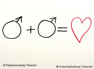 An illustration of two male gender signs followed by a heart.: (Photo:Andrzej Tokarski - Fotolia.com)
