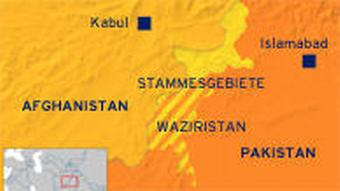 Map of Pakistan's northwestern Khyber Pakhtunkhwa province, which borders Afghanistan