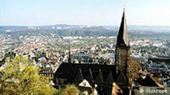 Panoramablick von Marburg mit Marienkirche