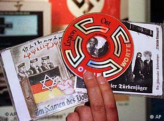 A hand holding Neo-Nazi propaganda, including a CD