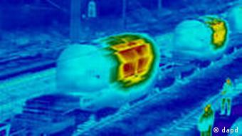 An infrared image of CASTOR nuclear transport containers