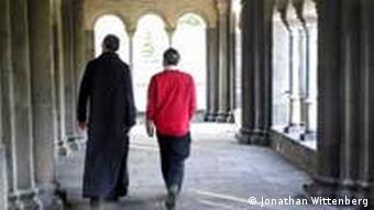 Rabbi Wittenberg walking with a Friar at Maria-Laach monestary