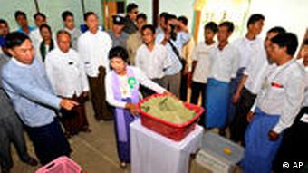 Local polling station in the city Myitkyina in northern Myanmar